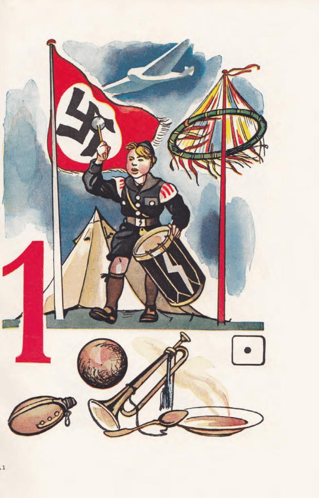 Illustratie uit een Duits rekenboekje bij het getal '1' (eind jaren '30)